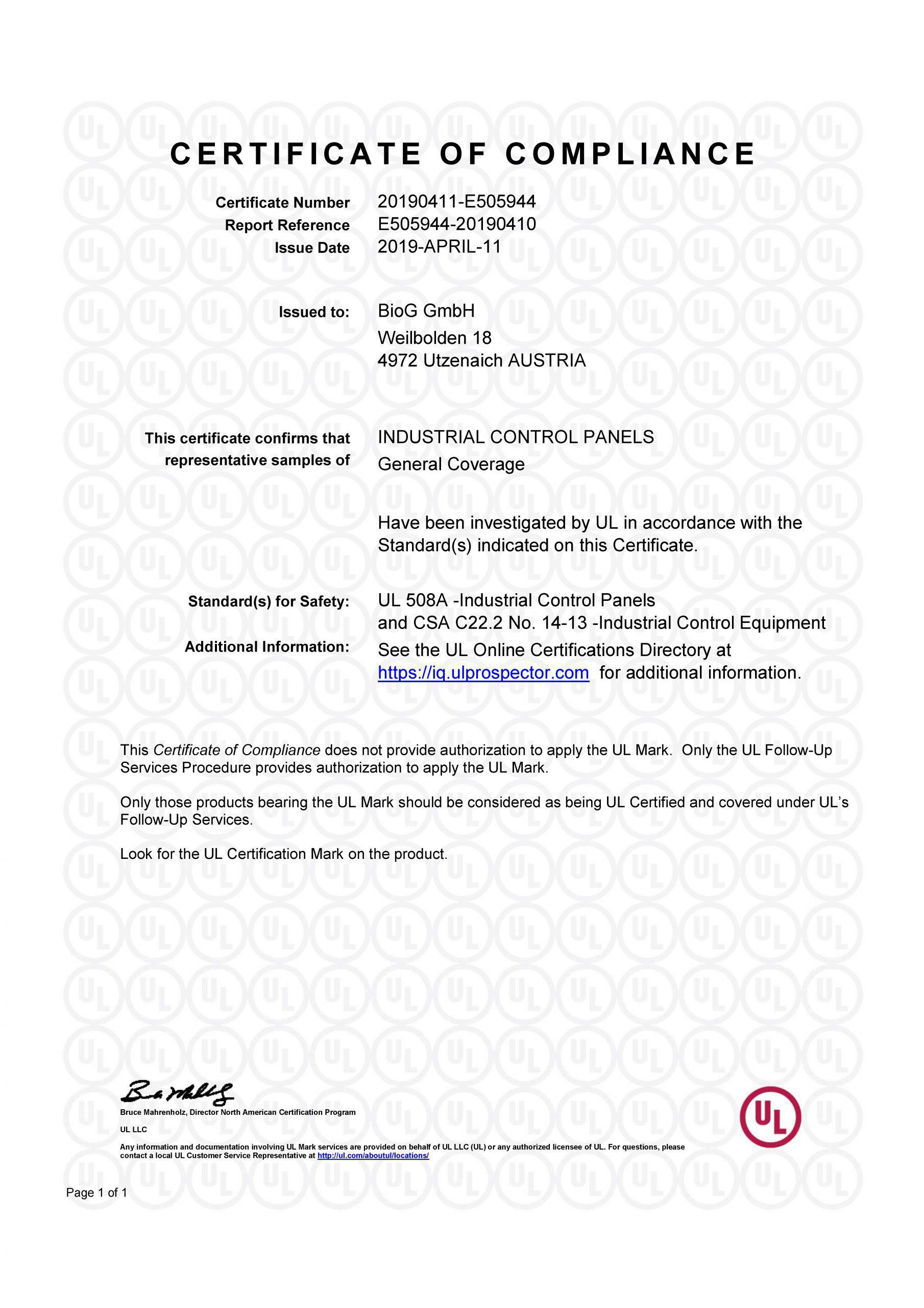 Certificate of compliance UL 508A